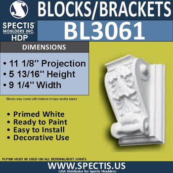 "BL3061 Eave Block or Bracket 9.25""W x 6""H x 11.13"" P"