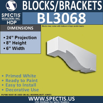 "BL3068 Eave Block or Bracket 6""W x 24""H x 8"" P"