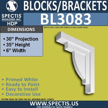 "BL3083 Eave Block or Bracket 6""W x 35""H x 32"" P"