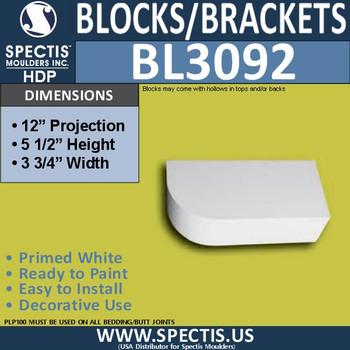 "BL3092 Eave Block or Bracket 3.75""W x 5.5""H x 12"" P"