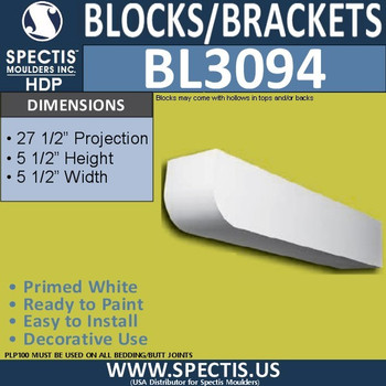 "BL3094 Eave Block or Bracket 5.5""W x 5.5""H x 27.5"" P"