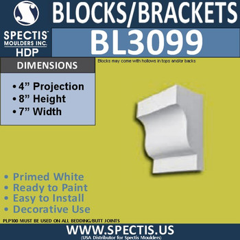 "BL3099 Eave Block or Bracket 7""W x 8""H x 4"" P"