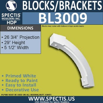 "BL3009 Eave Block or Bracket 5.5""W x 29""H x 26.75"" P"