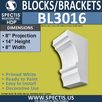 "BL3016 Eave Block or Bracket 8""W x 14""H x 8"" P"