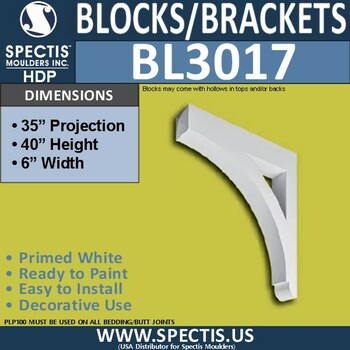 "BL3017 Eave Block or Bracket 6""W x 40""H x 35"" P"