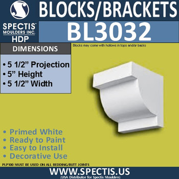 "BL3032 Eave Block or Bracket 5.5""W x 5""H x 5.5"" P"
