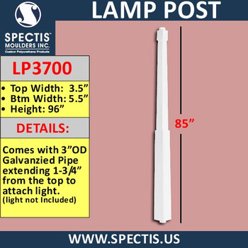 """LP3700 Lamp Post for Lights  5 1/2"""" Base x 96"""" Tall"""