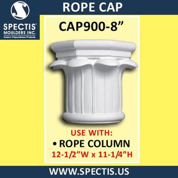 "CAP900-8 Rope Cap 12 1/2""W x 11 1/4""H for 8"" top column"