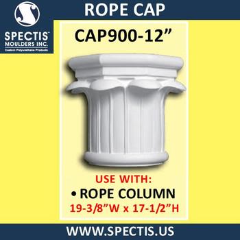 "CAP900-12 Rope Cap 19 3/8""W x 17 1/2""H for 12"" top column"