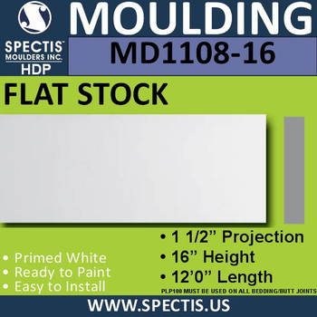 """MD1108-16 Spectis 1-1/2"""" Flat Trim 1 1/2""""P x 16""""H x 144""""L"""