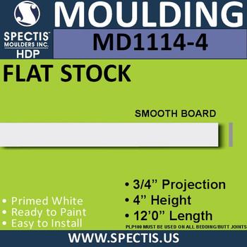 "MD1114-4 Spectis 3/4"" Flat Stock 3/4""P x 4""H x 144""L"