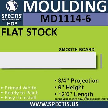 "MD1114-6 Spectis 3/4"" Flat Stock 3/4""P x 6""H x 144""L"