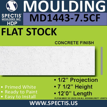 "MD1443CF-7.5 Concrete Finish Flat Stock 1/2""P x 7 1/2""H x 12'"