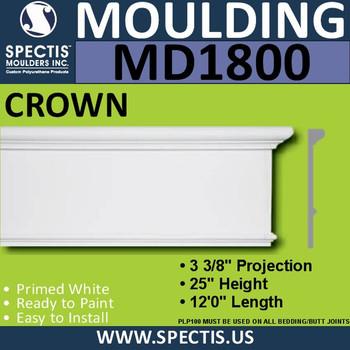 MD1800 Crown Molding Trim decorative spectis urethane