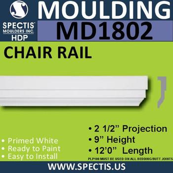 MD1802 Chair Rail Molding Trim decorative spectis urethane