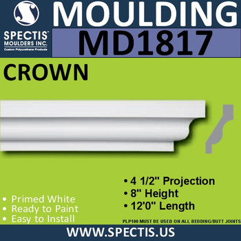 MD1817 Crown Molding Trim decorative spectis urethane