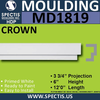 MD1819 Crown Molding Trim decorative spectis urethane