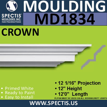 MD1834 Crown Molding Trim decorative spectis urethane