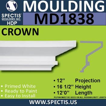 MD1838 Crown Molding Trim decorative spectis urethane