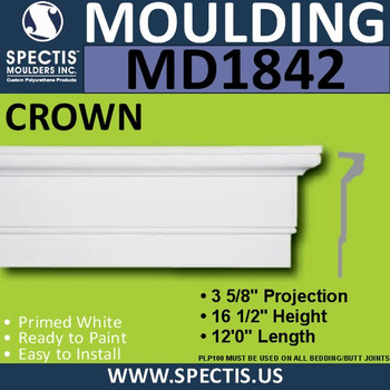 MD1842 Crown Molding Trim decorative spectis urethane