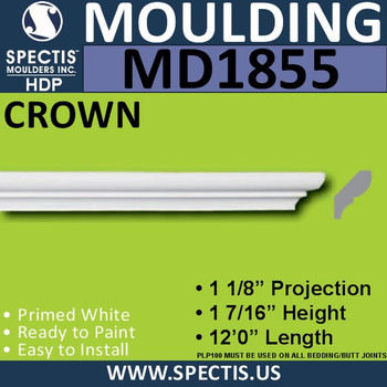 MD1855 Crown Molding Trim decorative spectis urethane