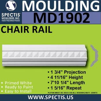 MD1902 Chair Rail Molding Trim decorative spectis urethane