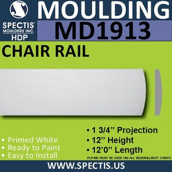 MD1913 Chair Rail Molding Trim decorative spectis urethane