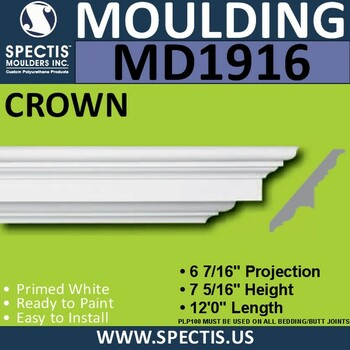 MD1916 Crown Molding Trim decorative spectis urethane