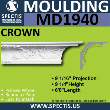 MD1940 Crown Molding Trim decorative spectis urethane