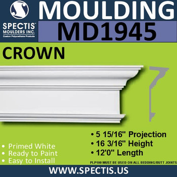 MD1945 Crown Molding Trim decorative spectis urethane