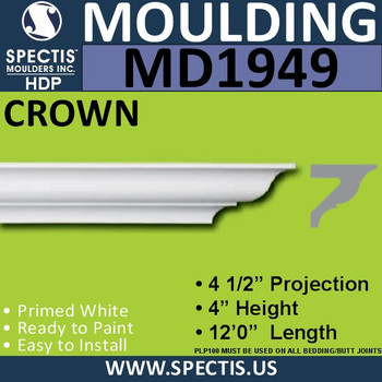 MD1949 Crown Molding Trim decorative spectis urethane