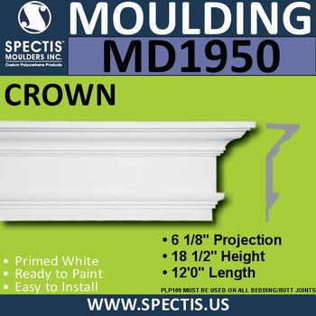 MD1950 Crown Molding Trim decorative spectis urethane