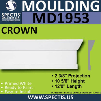 MD1953 Crown Molding Trim decorative spectis urethane