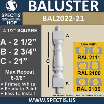 """BAL2022-21 Urethane Baluster or Spindle 4 1/2""""W X 21""""H"""
