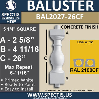 "BAL2027-26CF Concrete Finish Baluster 5 1/4""W X 26""H"