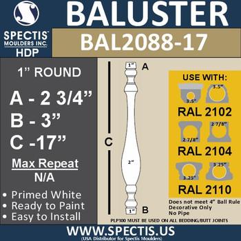 "BAL2088-17 Traditional Urethane Railing Baluster 2"" x 17"""