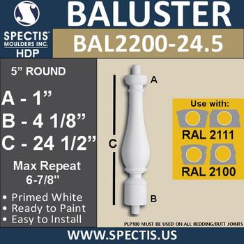 "BAL2200-24.5 Spectis Urethane Railing Baluster 5"" x 24 1/2"""