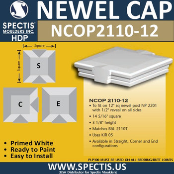 """NCOP 2110-12 Newel Cap Over Post 14 5/16""""W x 3 1/8"""" H For RAL2110T"""