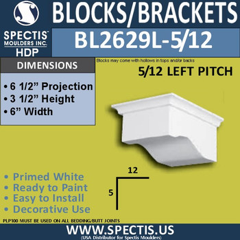 "BL2629L-5/12 Left Eave Block 6""W x 3.5""H x 6.5"" P"