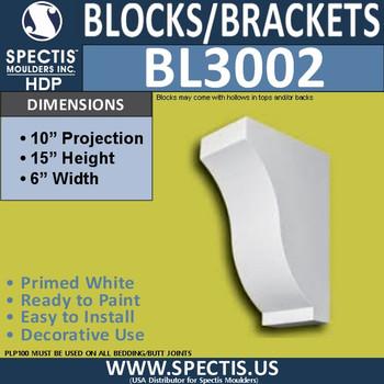 "BL3002 Eave Block or Bracket 6""W x 15""H x 10""P"