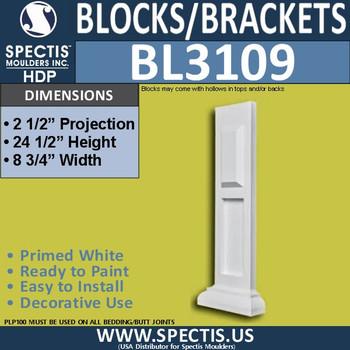 "BL3109  Eave Block or Bracket 8.75""W x 24.5""W x 2.5""P"