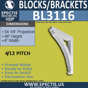 "BL3116 Eave Block or Bracket 6""W x 48""H x 34.25""P"
