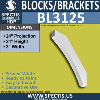 "BL3125 Eave Block or Bracket 3""W x 24""H x 24""P"