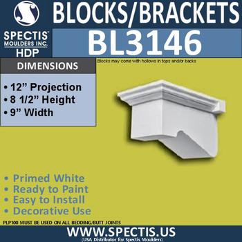 "BL3146 Eave Block or Bracket 9""W x 8.5""H x 12""P"