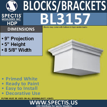 "BL3157 Eave Block or Bracket 8.62""W x 5""H x 9""P"