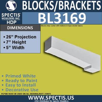 "BL3169 Eave Block or Bracket 5""W x 7""H x 26""P"