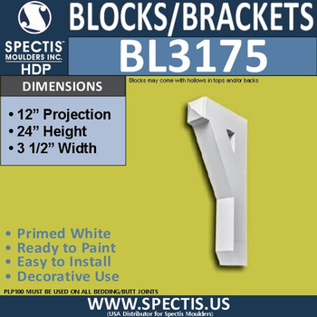 "BL3175 Eave Block or Bracket 3.5""W x 24""H x 12""P"