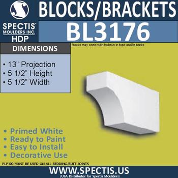 "BL3176 Eave Block or Bracket 5.5""W x 5.5""H x 13""P"