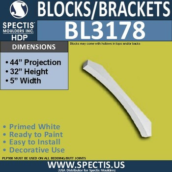 "BL3178 Eave Block or Bracket 5""W x 32""H x 44""P"