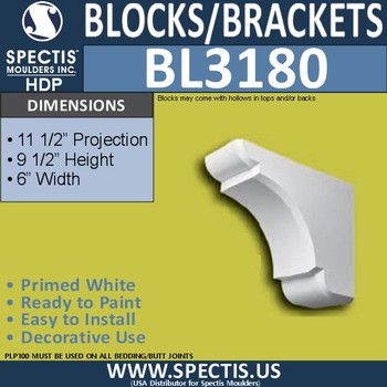 "BL3180 Eave Block or Bracket 6""W x 9.5""H x 11.5""P"